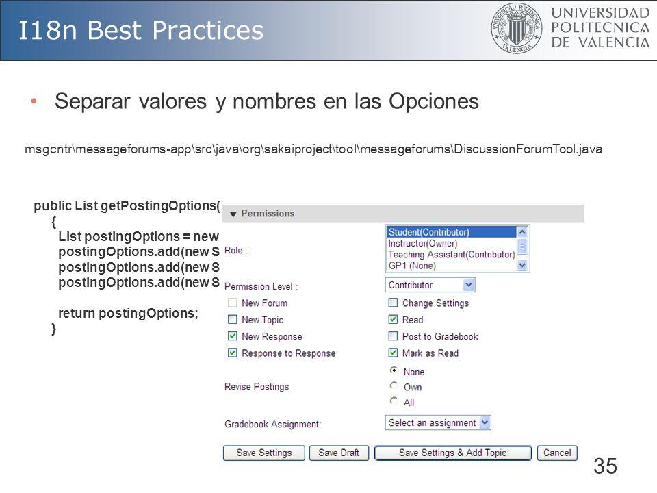 I18n Best Practices Separar valores y nombres en las Opciones