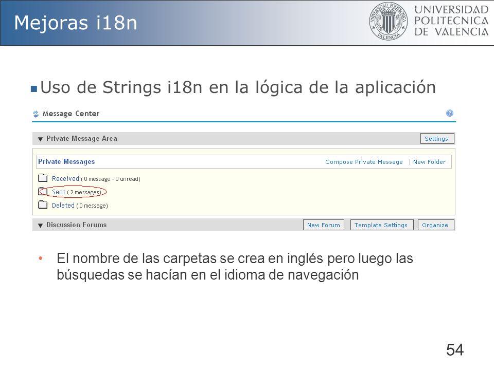 Mejoras i18n Uso de Strings i18n en la lógica de la aplicación