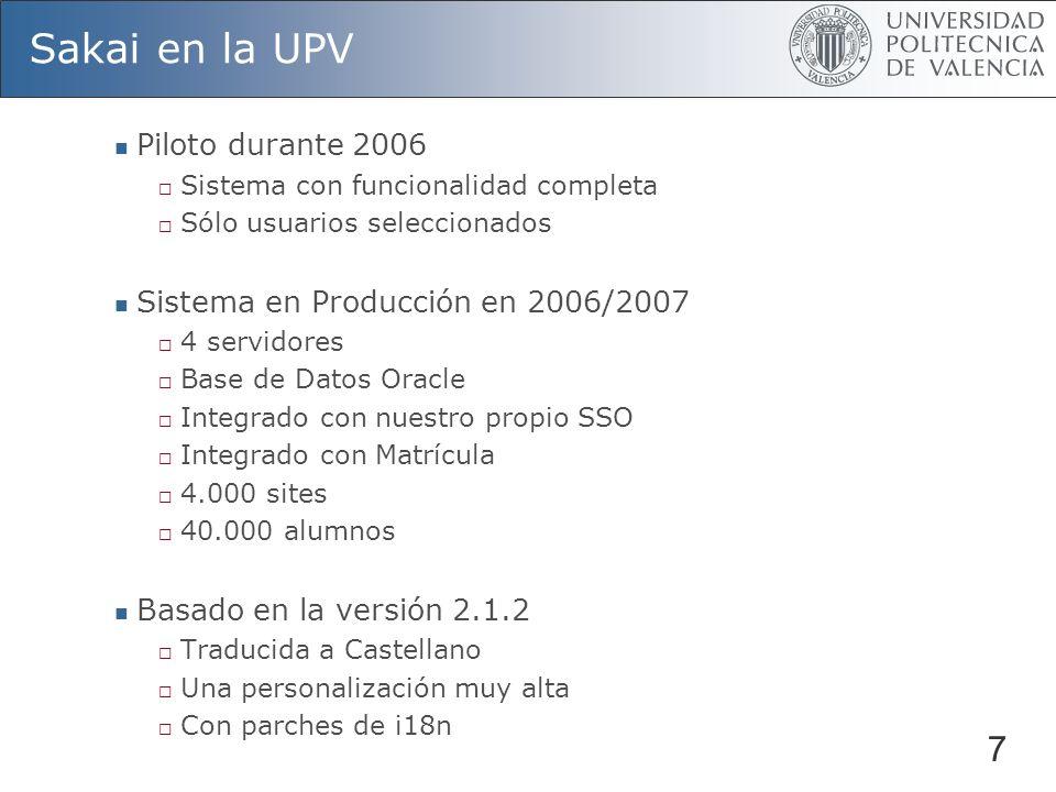 Sakai en la UPV 7 Piloto durante 2006