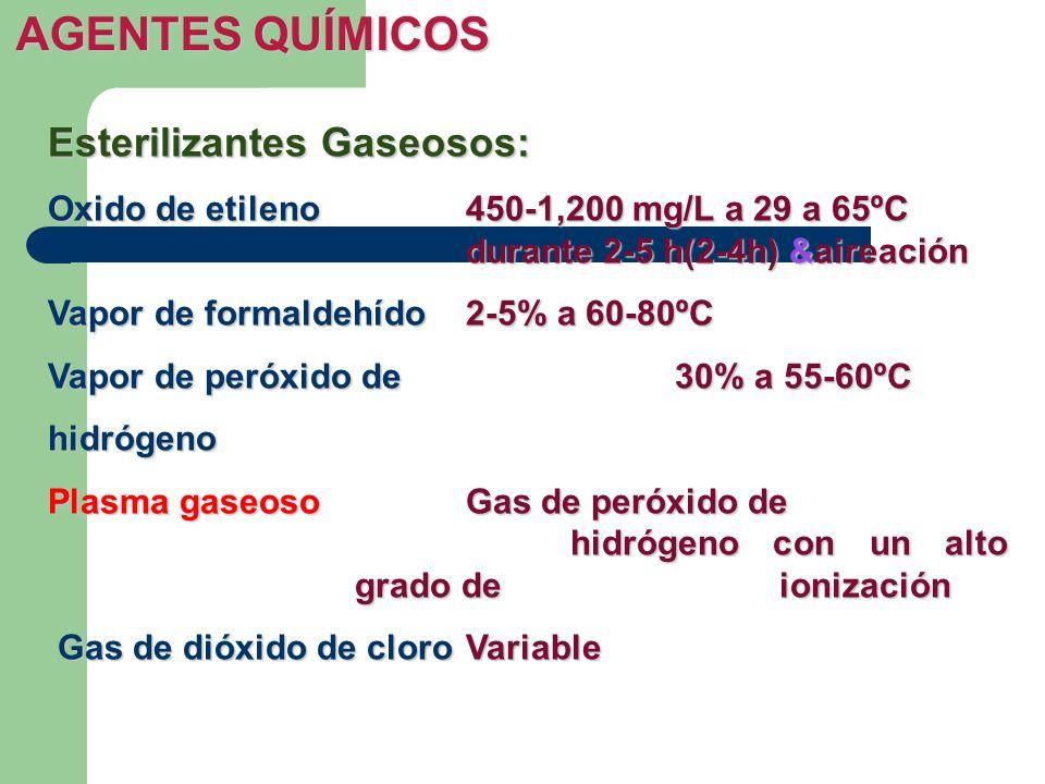 AGENTES QUÍMICOS Esterilizantes Gaseosos:
