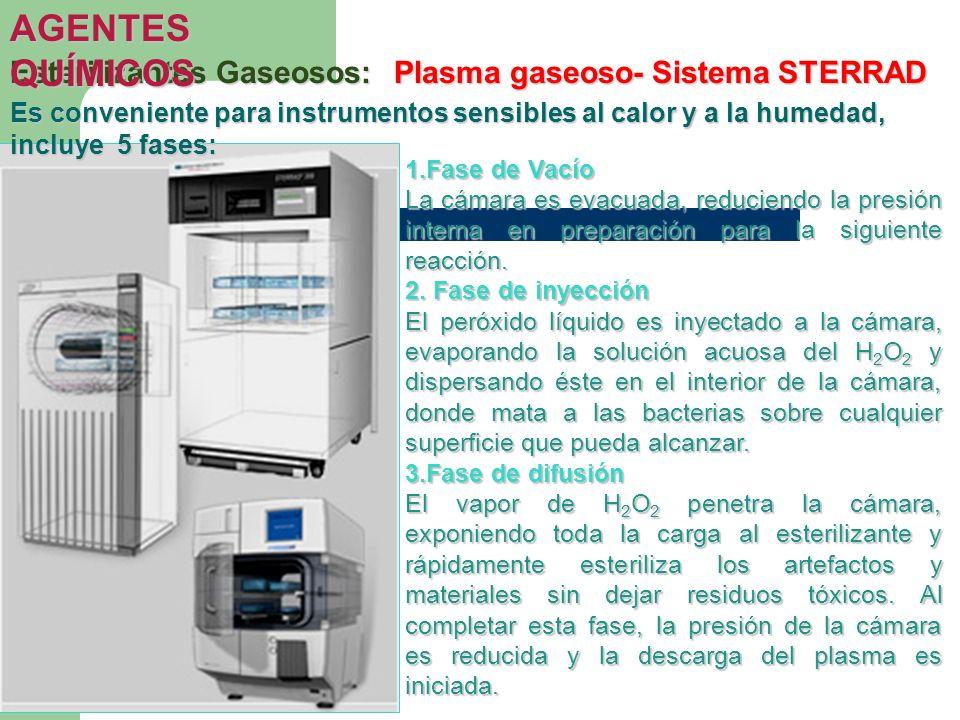 AGENTES QUÍMICOS Esterilizantes Gaseosos: Plasma gaseoso- Sistema STERRAD.