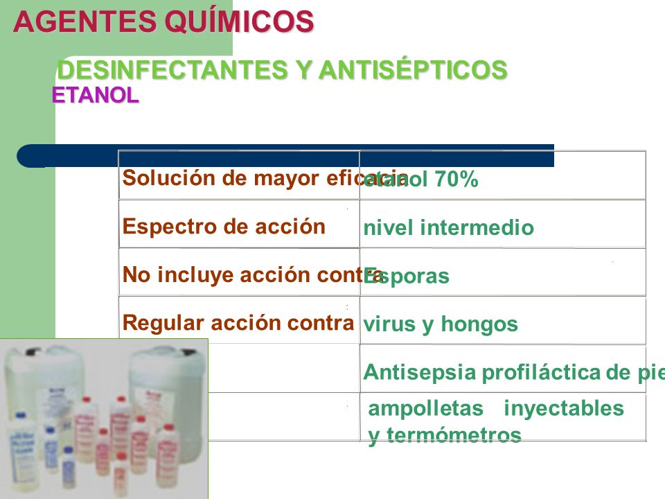 AGENTES QUÍMICOS DESINFECTANTES Y ANTISÉPTICOS ETANOL