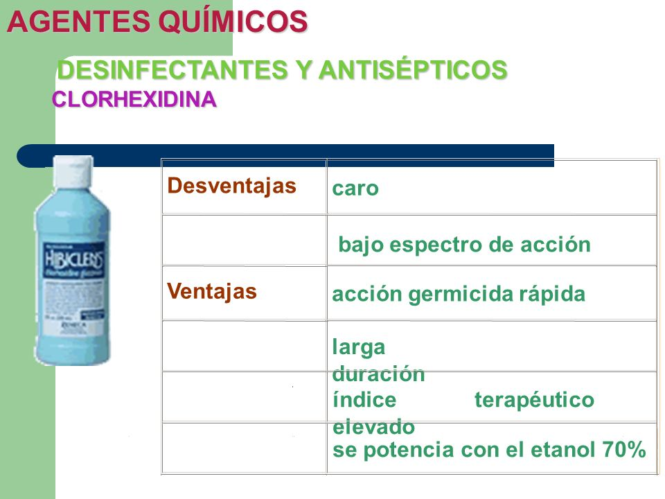 AGENTES QUÍMICOS DESINFECTANTES Y ANTISÉPTICOS CLORHEXIDINA