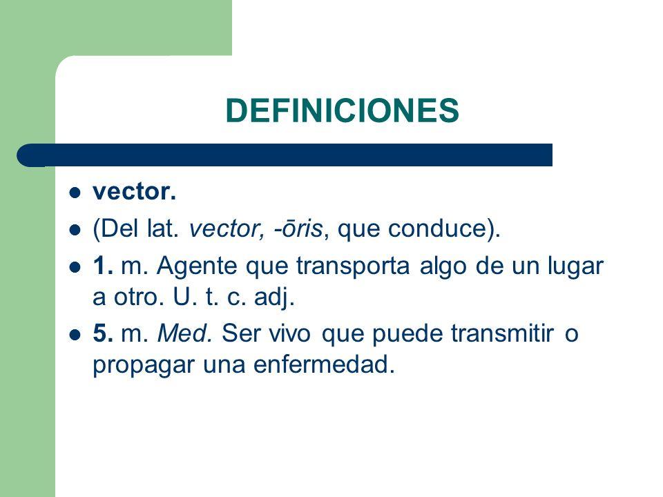 DEFINICIONES vector. (Del lat. vector, -ōris, que conduce).