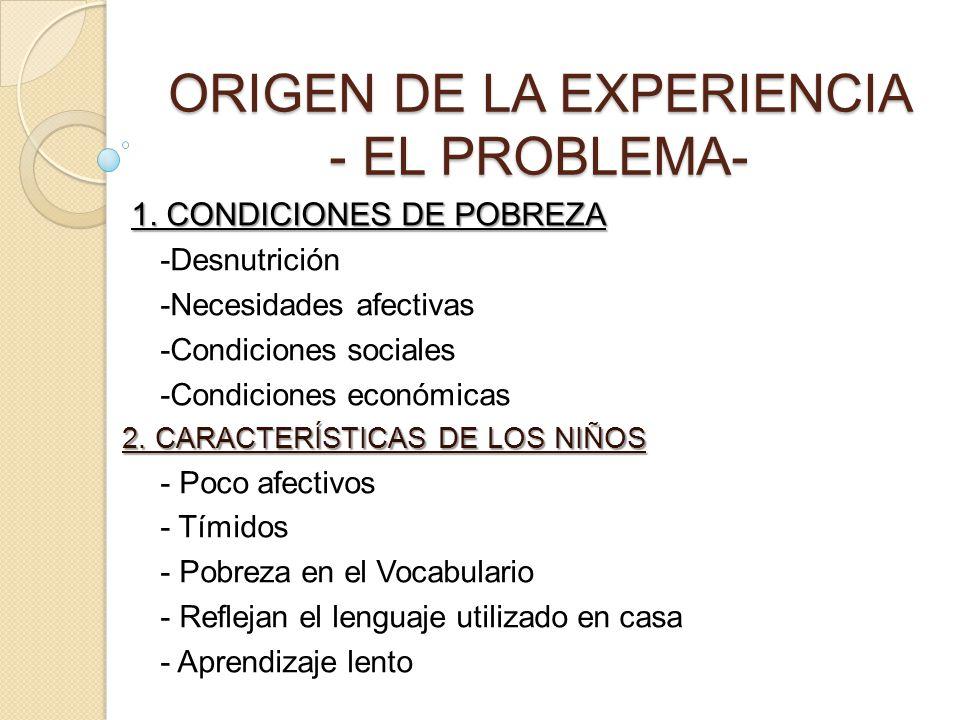 ORIGEN DE LA EXPERIENCIA - EL PROBLEMA-