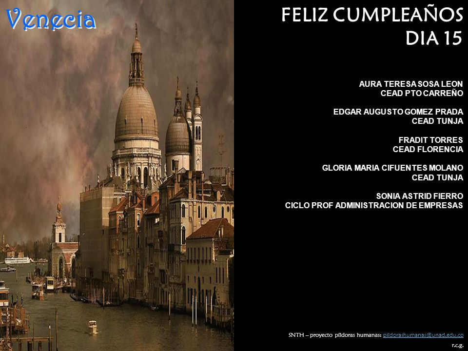 Venecia FELIZ CUMPLEAÑOS DIA 15 AURA TERESA SOSA LEON CEAD PTO CARREÑO