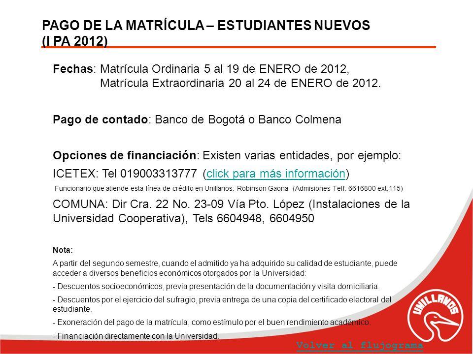 PAGO DE LA MATRÍCULA – ESTUDIANTES NUEVOS (I PA 2012)
