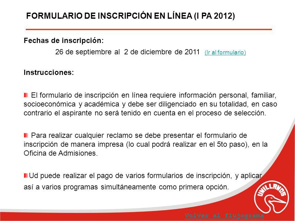 FORMULARIO DE INSCRIPCIÓN EN LÍNEA (I PA 2012)