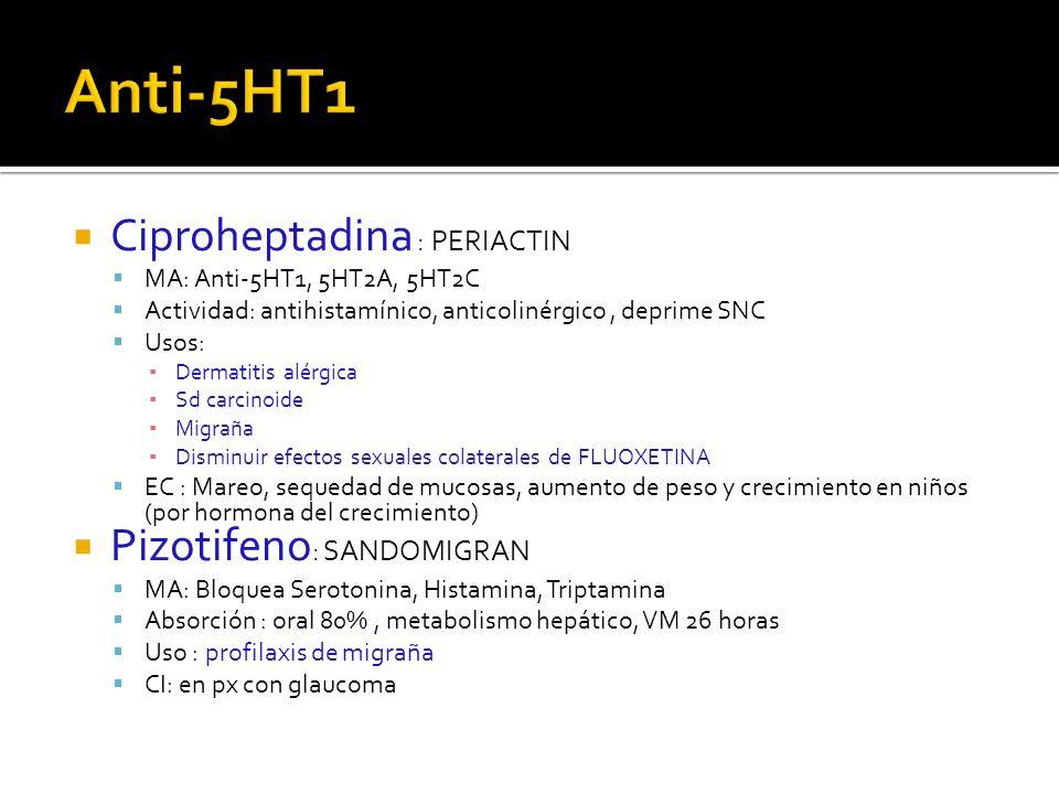 Anti-5HT1 Ciproheptadina : PERIACTIN Pizotifeno: SANDOMIGRAN