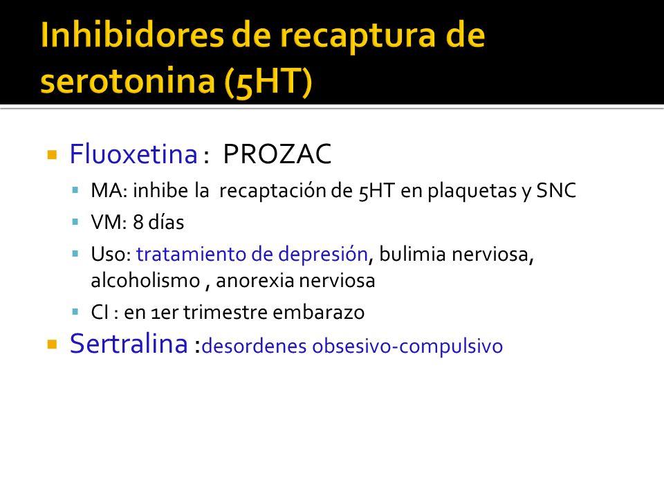 Inhibidores de recaptura de serotonina (5HT)