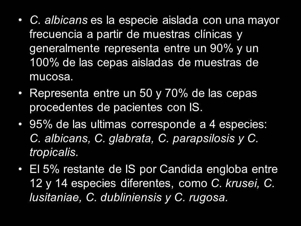C. albicans es la especie aislada con una mayor frecuencia a partir de muestras clínicas y generalmente representa entre un 90% y un 100% de las cepas aisladas de muestras de mucosa.