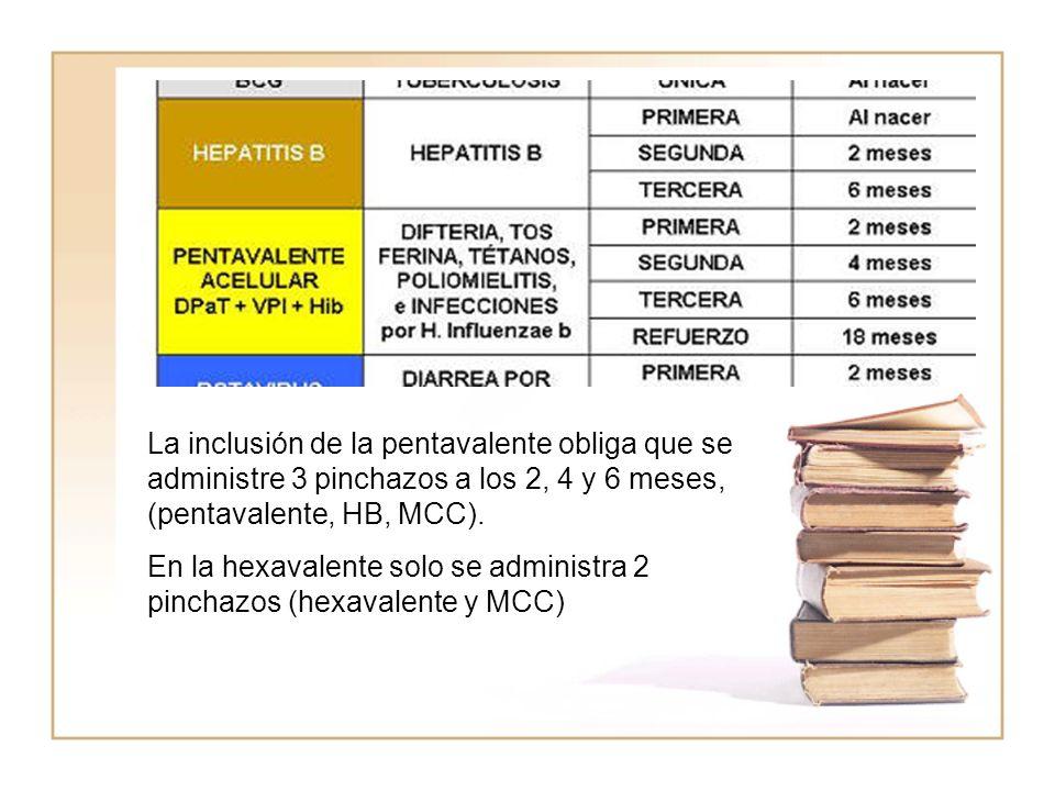 La inclusión de la pentavalente obliga que se administre 3 pinchazos a los 2, 4 y 6 meses, (pentavalente, HB, MCC).