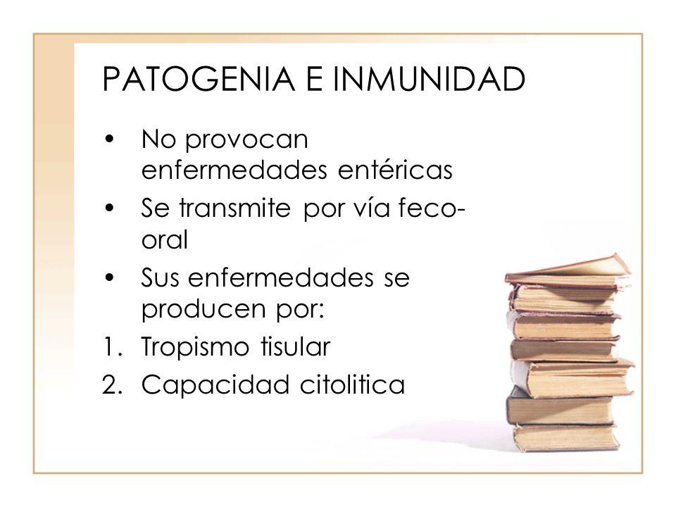 PATOGENIA E INMUNIDAD No provocan enfermedades entéricas