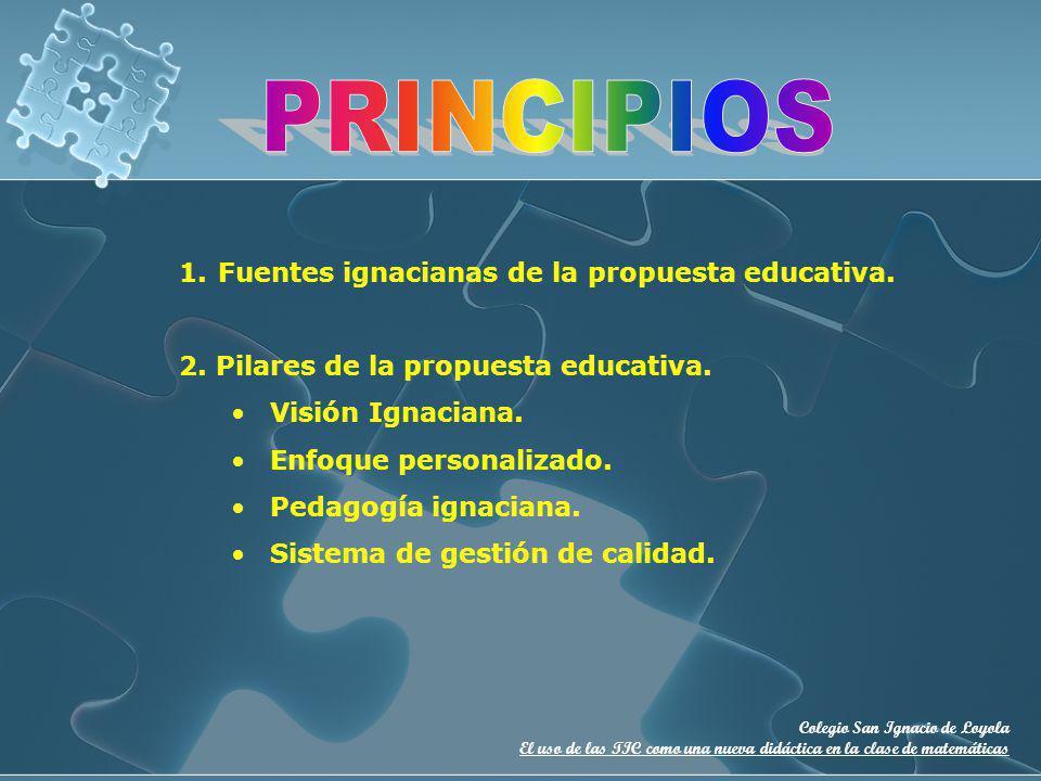 PRINCIPIOS Fuentes ignacianas de la propuesta educativa.