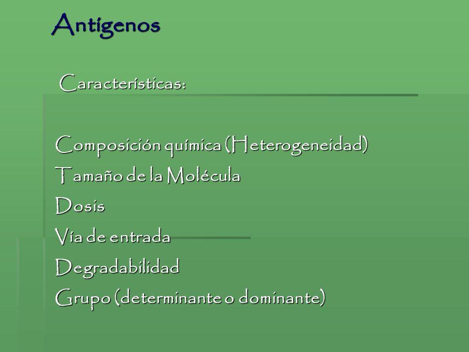 Antígenos Características: Composición química (Heterogeneidad)