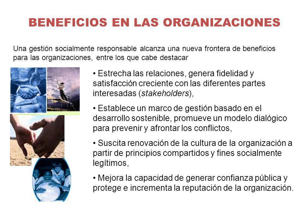 BENEFICIOS EN LAS ORGANIZACIONES