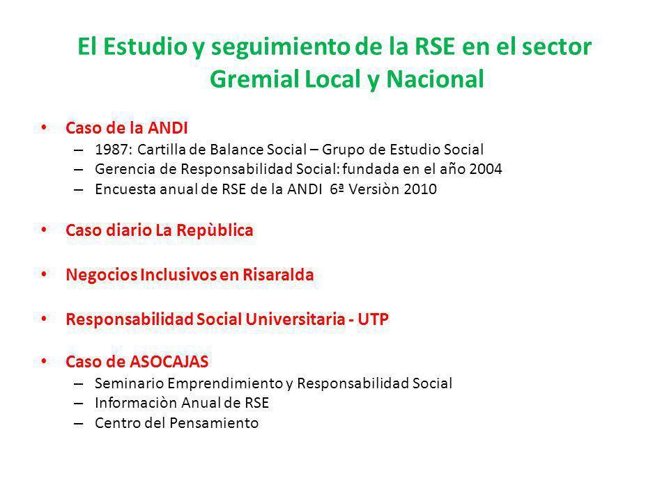 El Estudio y seguimiento de la RSE en el sector Gremial Local y Nacional