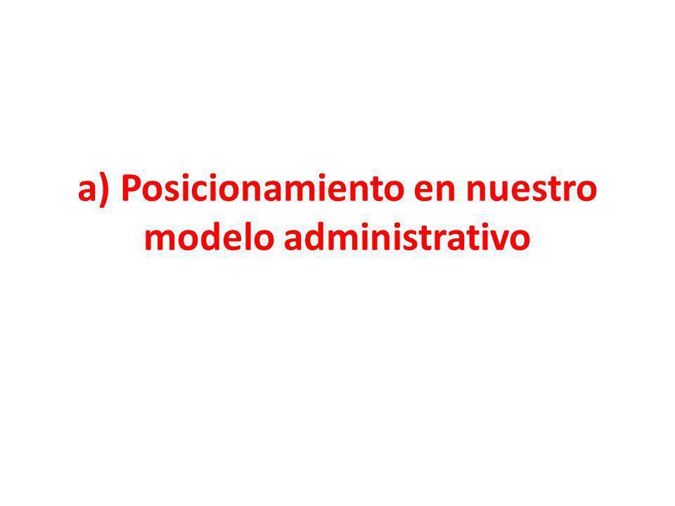 a) Posicionamiento en nuestro modelo administrativo