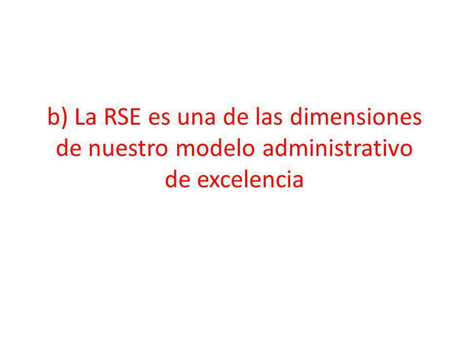 b) La RSE es una de las dimensiones de nuestro modelo administrativo de excelencia