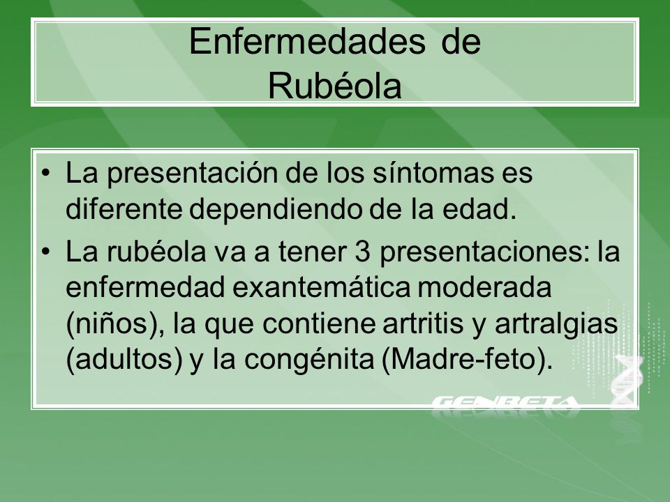 Enfermedades de Rubéola