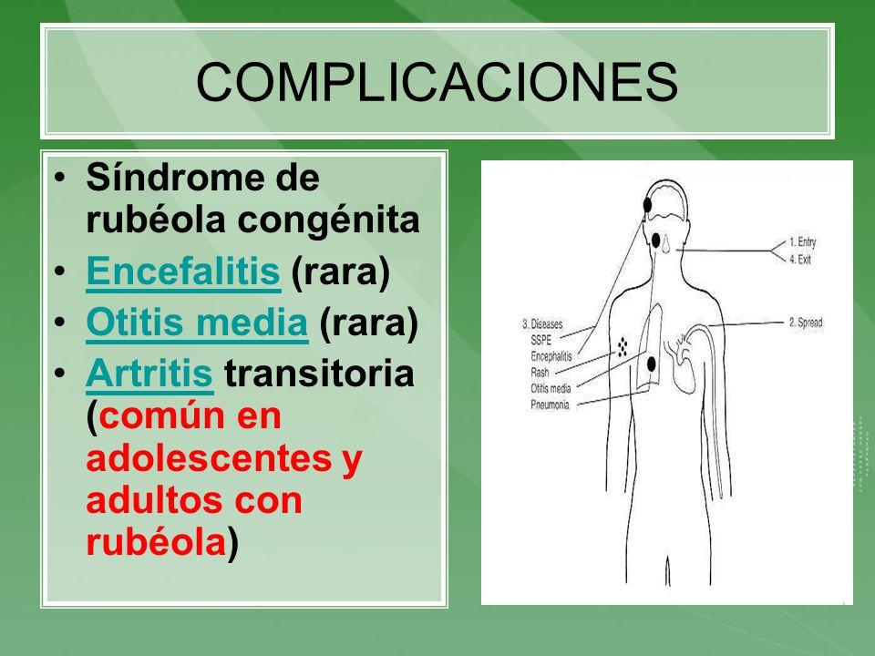 COMPLICACIONES Síndrome de rubéola congénita Encefalitis (rara)