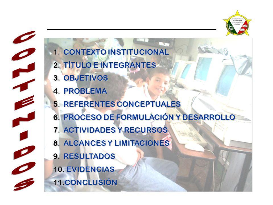 CONTENIDOS CONTEXTO INSTITUCIONAL TÍTULO E INTEGRANTES OBJETIVOS