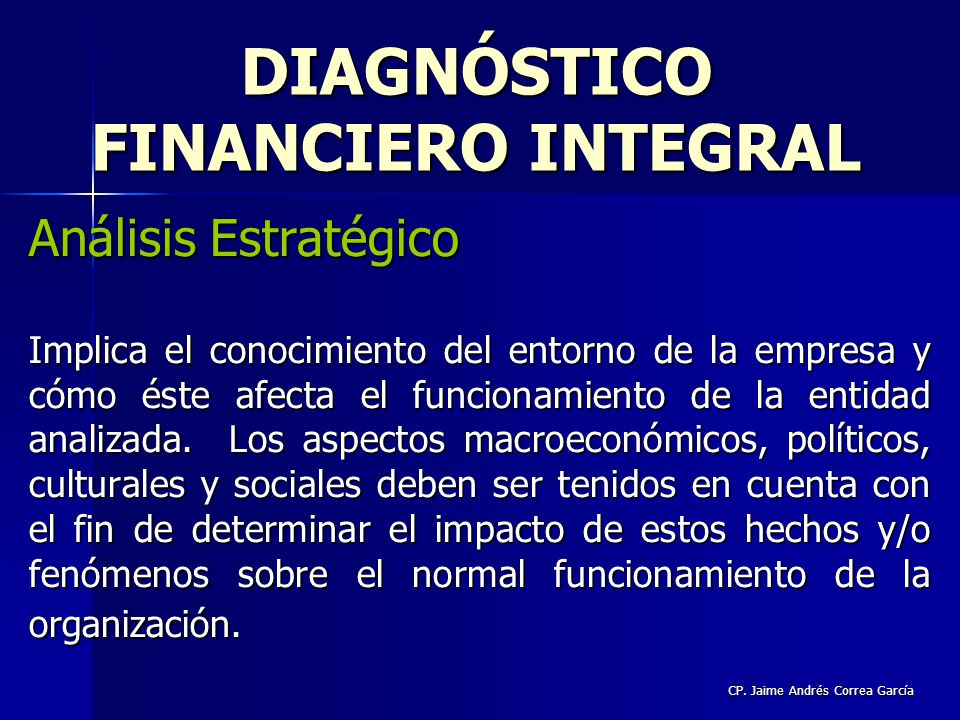 DIAGNÓSTICO FINANCIERO INTEGRAL