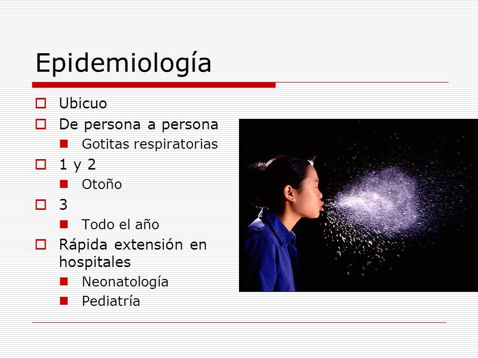 Epidemiología Ubicuo De persona a persona 1 y 2 3