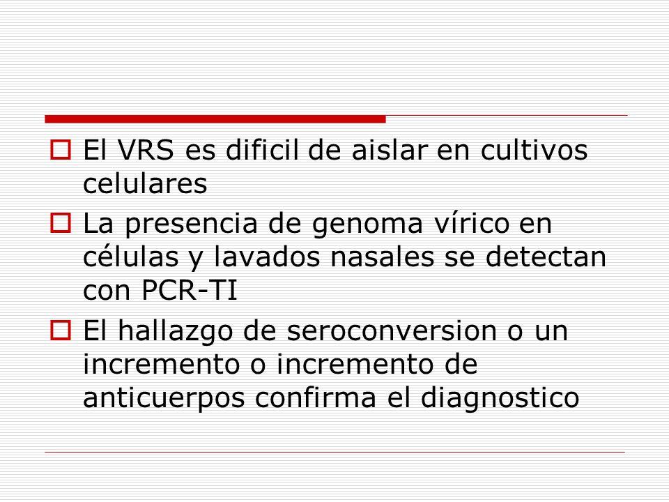 El VRS es dificil de aislar en cultivos celulares
