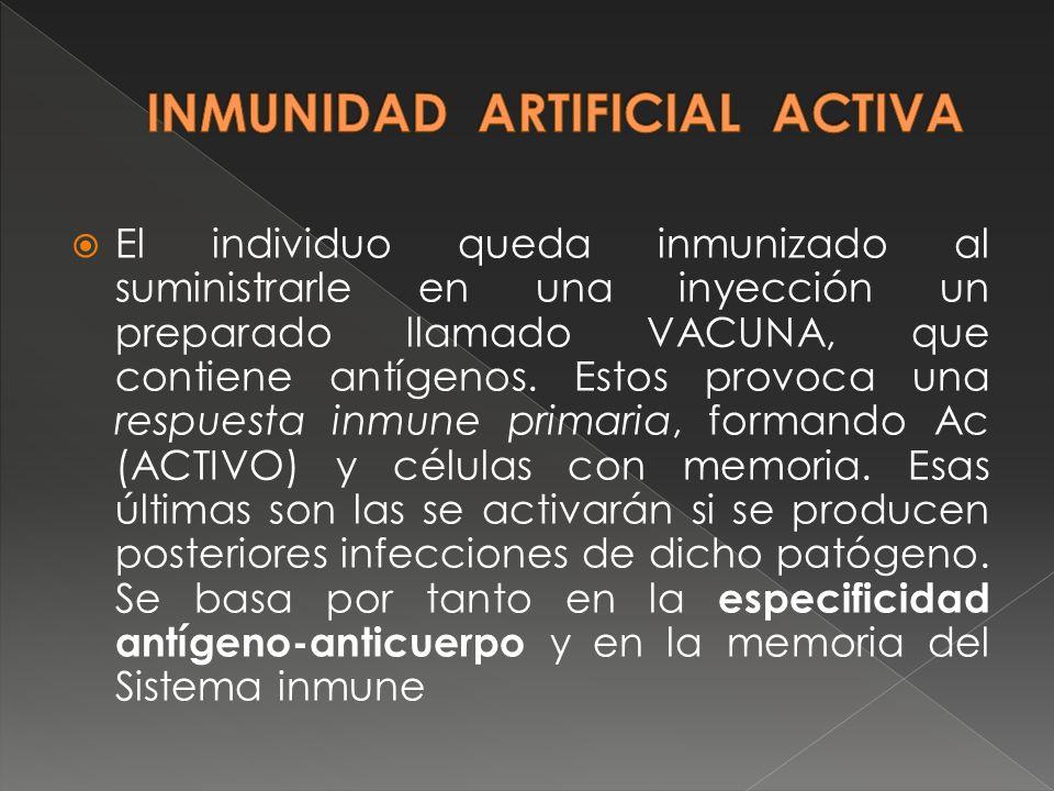 INMUNIDAD ARTIFICIAL ACTIVA