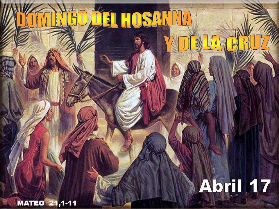 DOMINGO DEL HOSANNA Y DE LA CRUZ Abril 17 MATEO 21,1-11