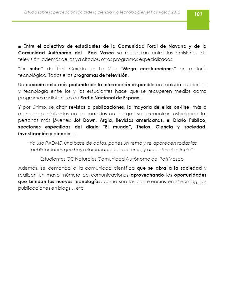 Estudiantes CC Naturales Comunidad Autónoma del País Vasco