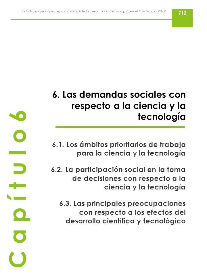 112 6. Las demandas sociales con respecto a la ciencia y la tecnología. 6.1. Los ámbitos prioritarios de trabajo para la ciencia y la tecnología.