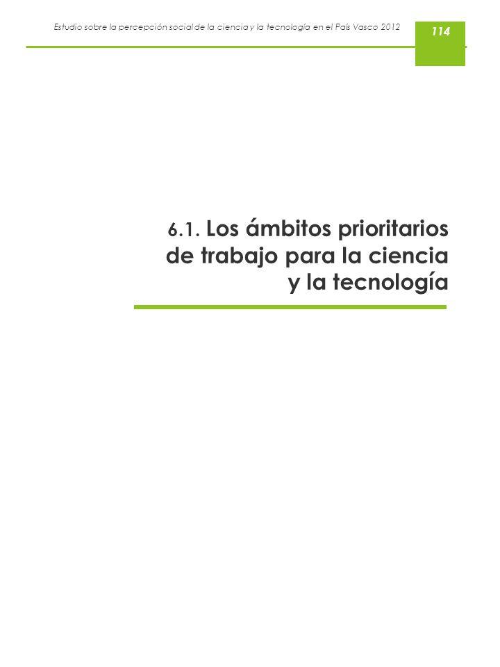 114 6.1. Los ámbitos prioritarios de trabajo para la ciencia y la tecnología