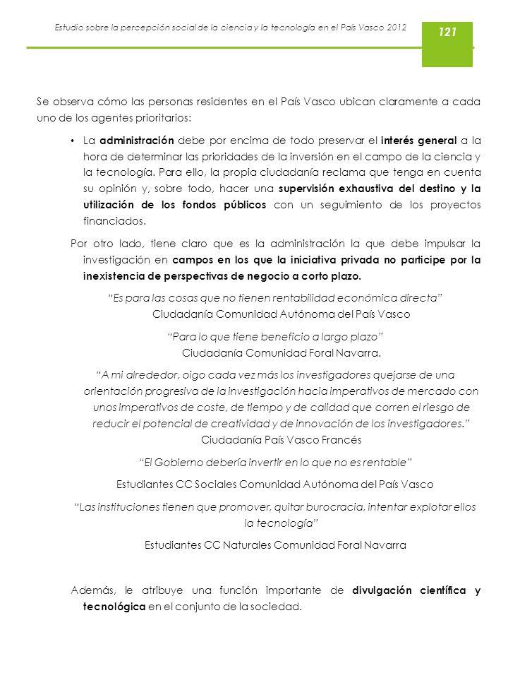 121 Se observa cómo las personas residentes en el País Vasco ubican claramente a cada uno de los agentes prioritarios: