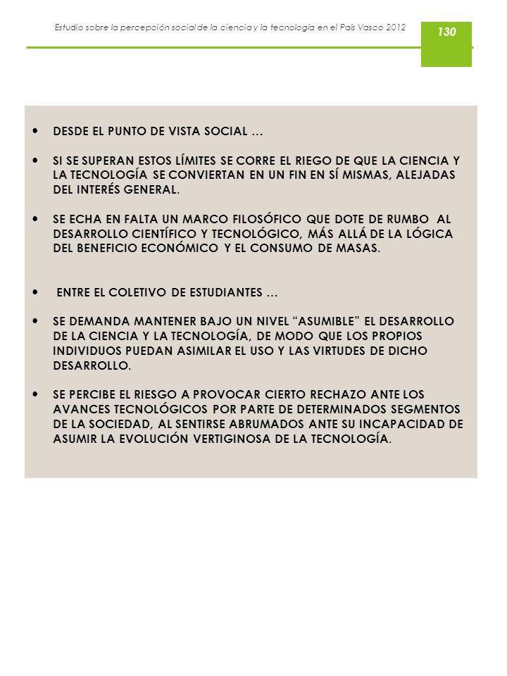 DESDE EL PUNTO DE VISTA SOCIAL …