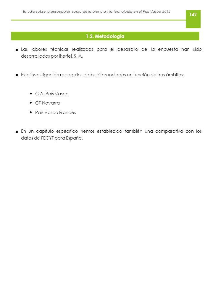 1.2. Metodología Las labores técnicas realizadas para el desarrollo de la encuesta han sido desarrolladas por Ikerfel, S. A.