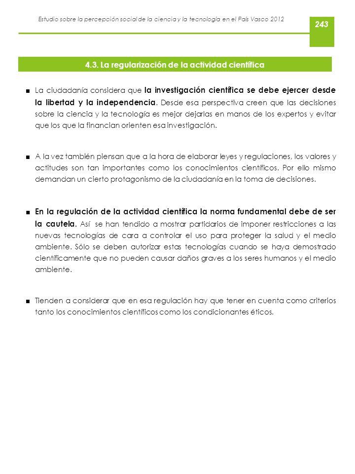 4.3. La regularización de la actividad científica