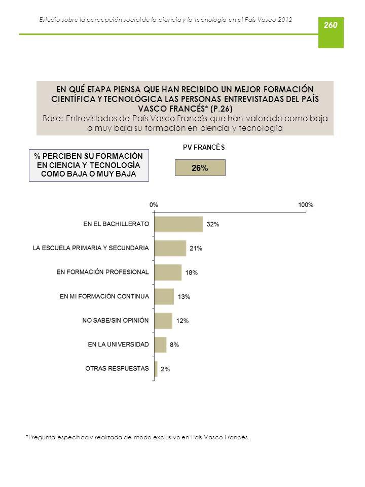 % PERCIBEN SU FORMACIÓN EN CIENCIA Y TECNOLOGÍA COMO BAJA O MUY BAJA