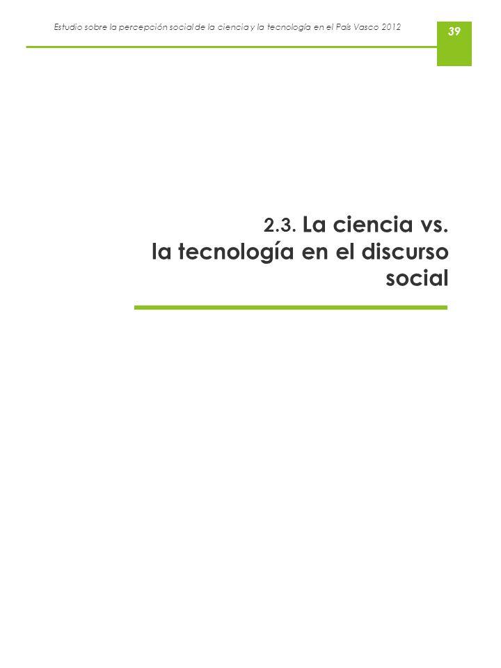 2.3. La ciencia vs. la tecnología en el discurso social