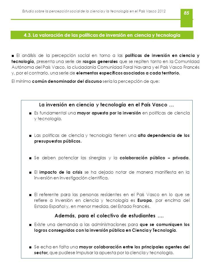 La inversión en ciencia y tecnología en el País Vasco …