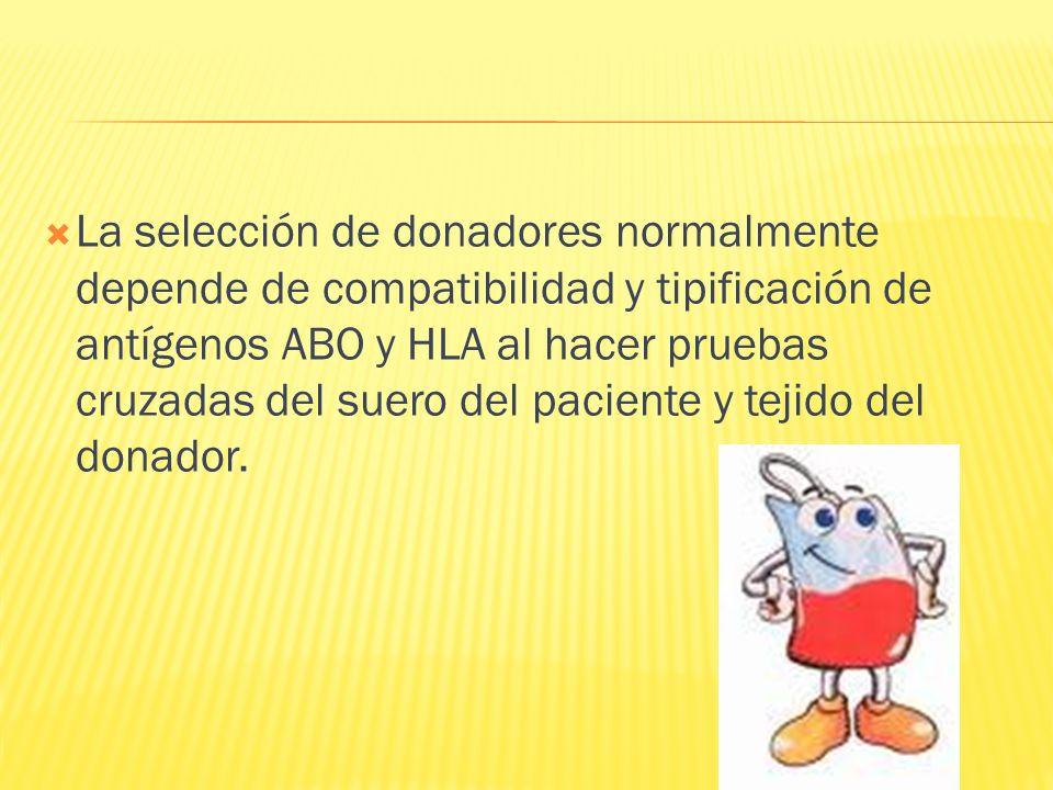La selección de donadores normalmente depende de compatibilidad y tipificación de antígenos ABO y HLA al hacer pruebas cruzadas del suero del paciente y tejido del donador.
