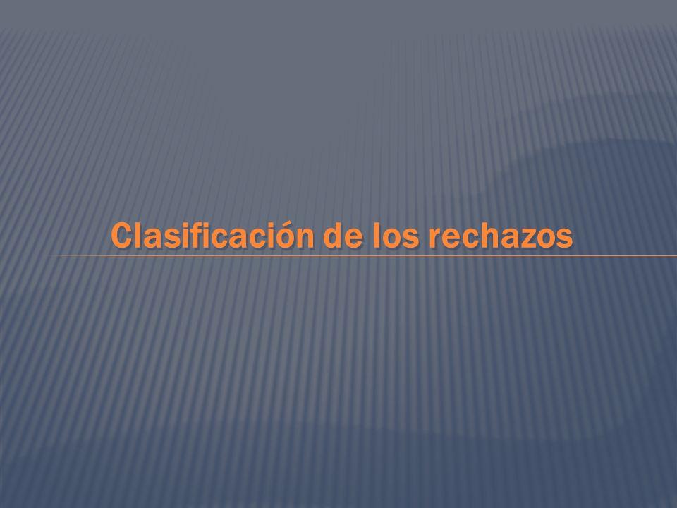 Clasificación de los rechazos