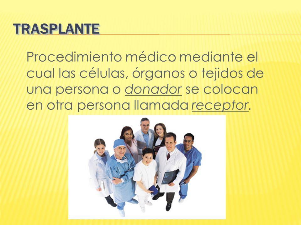 TRASPLANTE Procedimiento médico mediante el cual las células, órganos o tejidos de una persona o donador se colocan en otra persona llamada receptor.