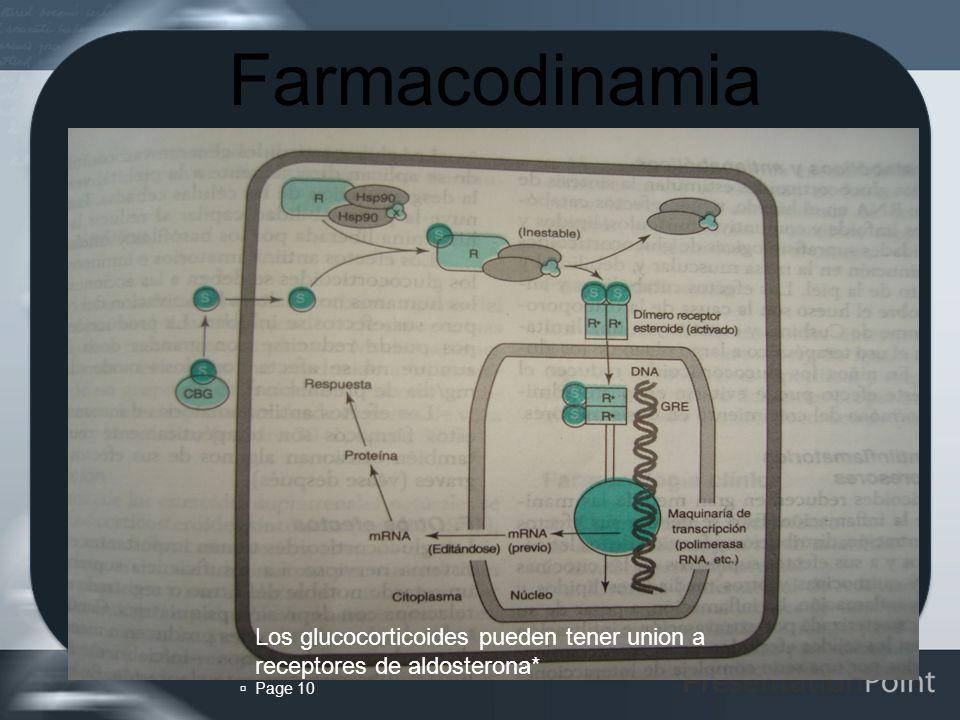 Farmacodinamia Los glucocorticoides pueden tener union a receptores de aldosterona*  Page 10 10