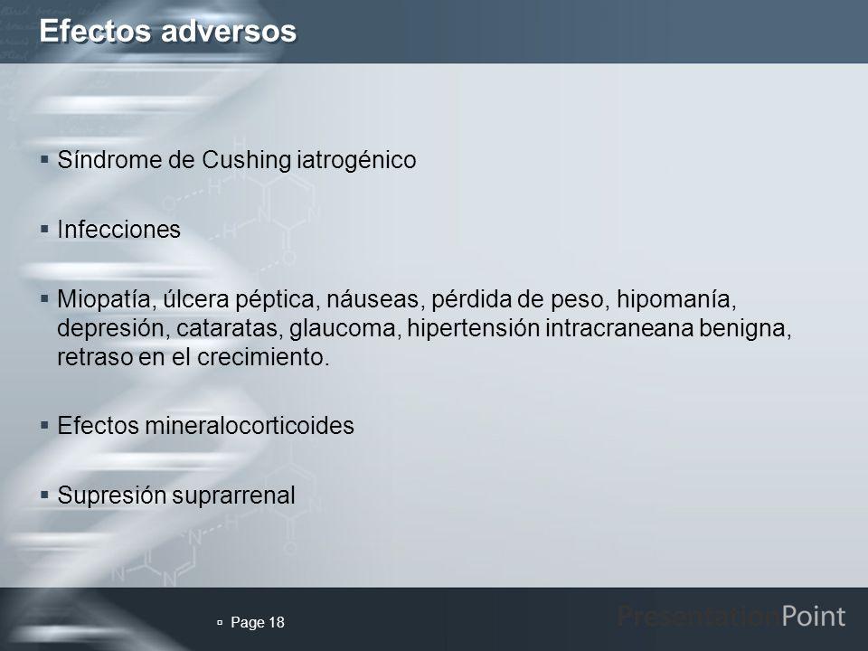 Efectos adversos Síndrome de Cushing iatrogénico Infecciones