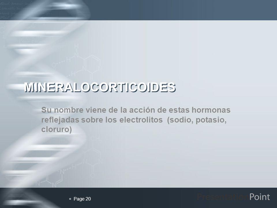 MINERALOCORTICOIDES Su nombre viene de la acción de estas hormonas reflejadas sobre los electrolitos (sodio, potasio, cloruro)