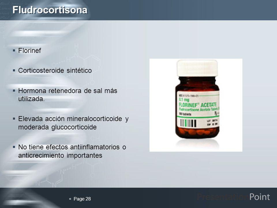 Fludrocortisona Florinef Corticosteroide sintético