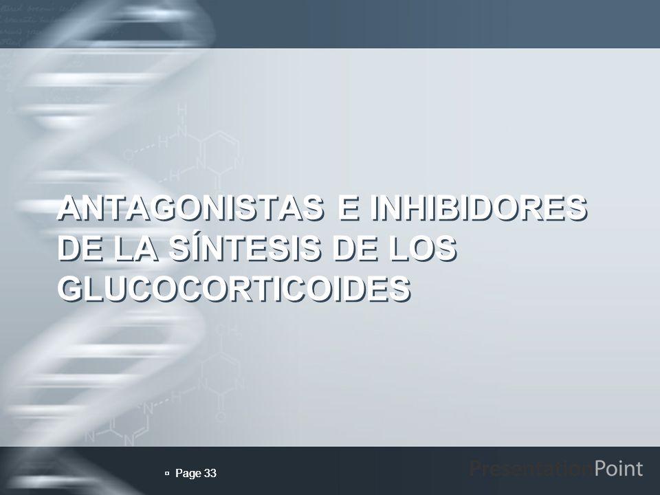 ANTAGONISTAS E INHIBIDORES DE LA SÍNTESIS DE LOS GLUCOCORTICOIDES