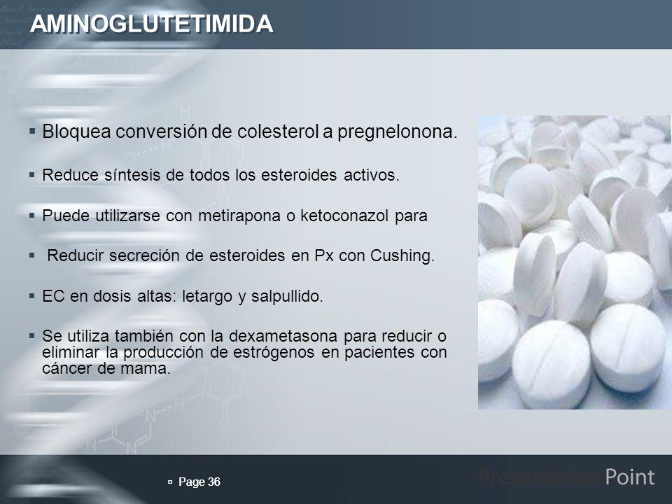 AMINOGLUTETIMIDA Bloquea conversión de colesterol a pregnelonona.